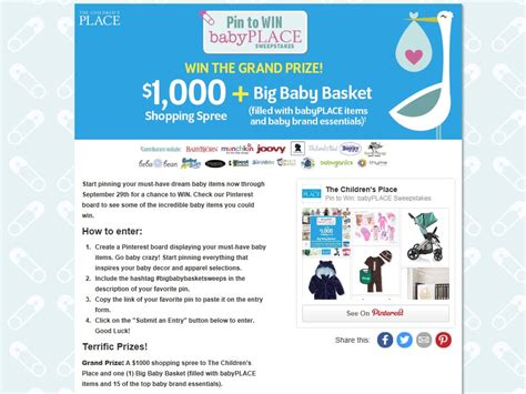 Contest Win 1000 Pink Mascara Shopping Spree by The Children S Place Pin To Win Babyplace Sweepstakes