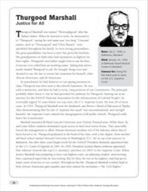 biography reading comprehension 3rd grade thurgood marshall reading passage comprehension the o