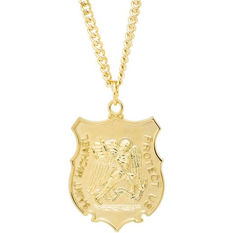 gold small shield st michael medal blingby