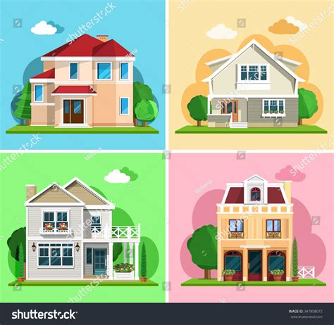 Set Detailed Colorful Cottage Houses Flat Stock Vector