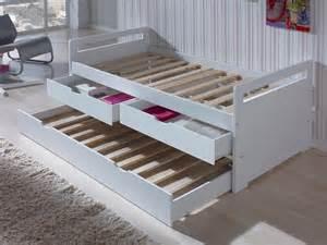 lit gigogne en bois 90x190 cm avec sommiers 224 lattes et 2