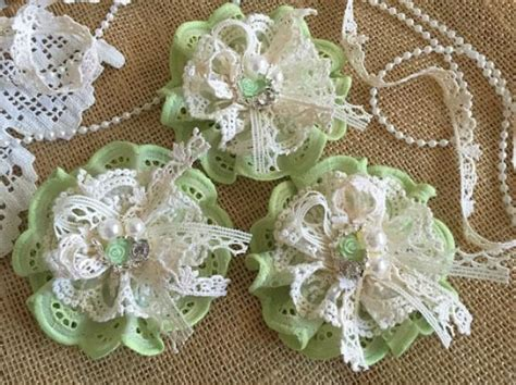 Handmade Lace Flowers - 3 shabby chic lace and fabric handmade flowers green and