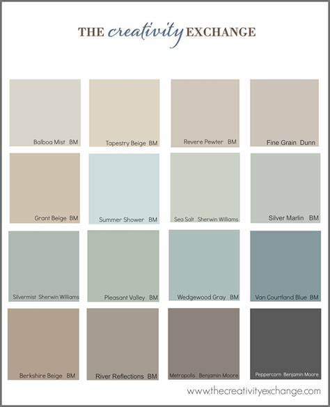 calm colors collection of the most popular pinned paint colors on