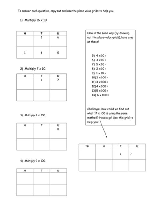 x 10 and x 100 worksheets by pumpkinsoup88 teaching