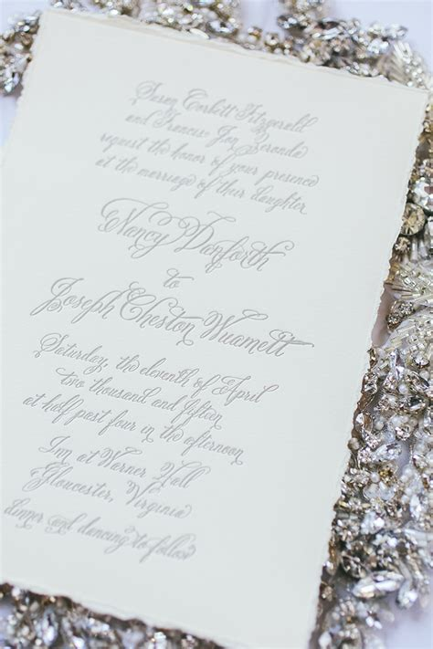 silver deckle edge wedding invitations mini bridal