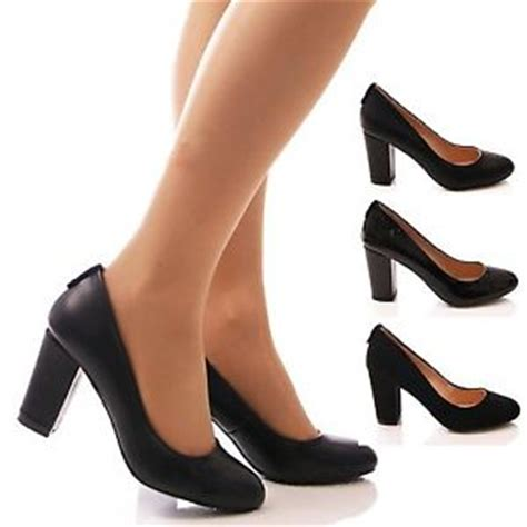 womens black court shoes work office school block
