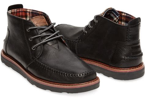 mens chukka boots with toms black leather s chukka boots in black for