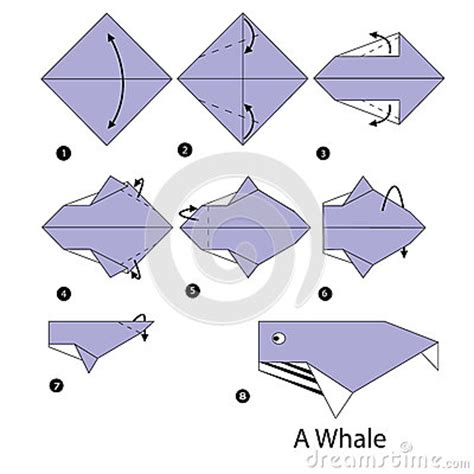 How To Make A Whale Origami - step by step how to make origami whale stock