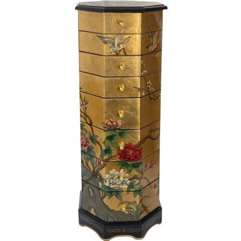 oriental armoire oriental furniture gold leaf jewelry armoire lcq cb gdjwcab