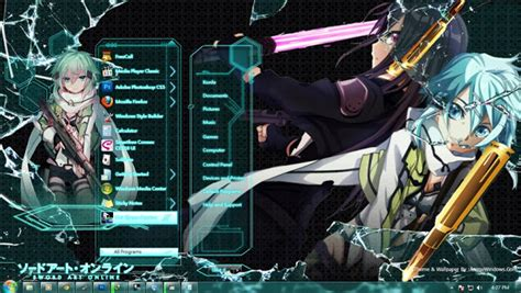 themes for windows 7 free download anime win7 theme gun gale online