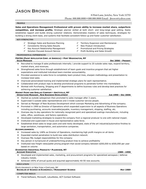 sle resume format for experienced professionals career sales management sle resume recentresumes