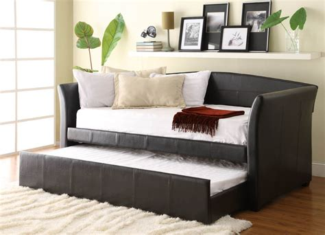 homelegance meyer brown leather daybed with roll out trundle in 2019 room stuff