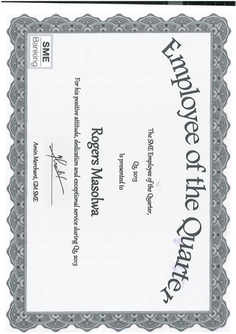 certificate of sme employee of the quarter rogers