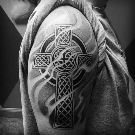cross tattoo with shading mens shaded celtic cross arm tattoos mike