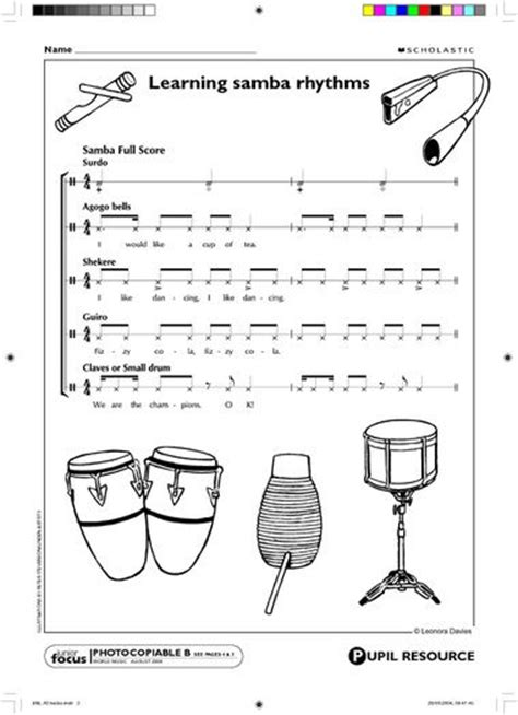 samba drum pattern notation samba rhythm music teaching music teacher elementary
