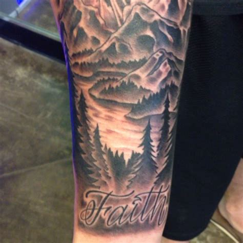 mountain scene tattoo 30 mountain with trees tattoos