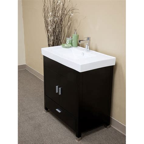 "Bellaterra Home Visconti Black Finish 32"" Modern Single Sink Bathroom Vanity 203107 S at"