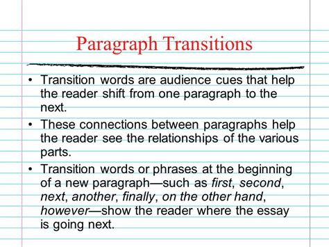 Transition Words For Essays Between Paragraphs by Transition Words Essay Paragraphs