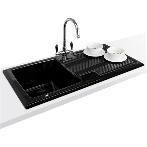 Black Ceramic Kitchen Sinks Astini Canterbury 100 1 0 Bowl Gloss Black Ceramic Kitchen Sink Waste Tap Ebay