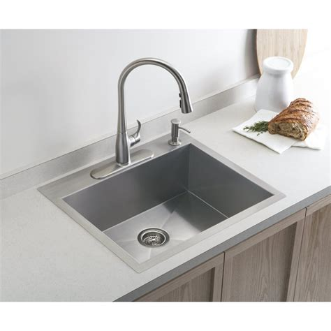 Inset Kitchen Sink Kohler Vault Medium Single 635mm X 559mm Brushed Steel