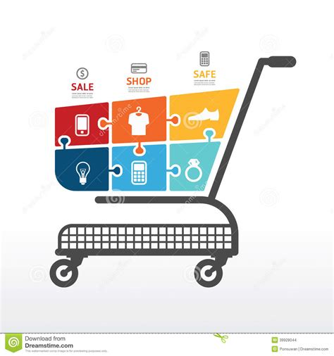 Infographic Template With Shopping Cart Jigsaw Banner Concept Stock Vector Illustration Of Free Shopping Cart Template For