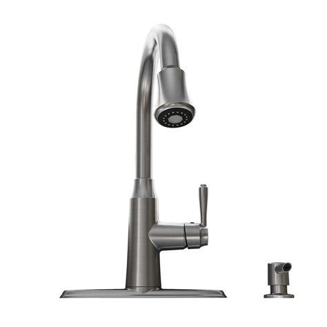 shop american standard soltura stainless steel 1 handle deck mount pull kitchen faucet at