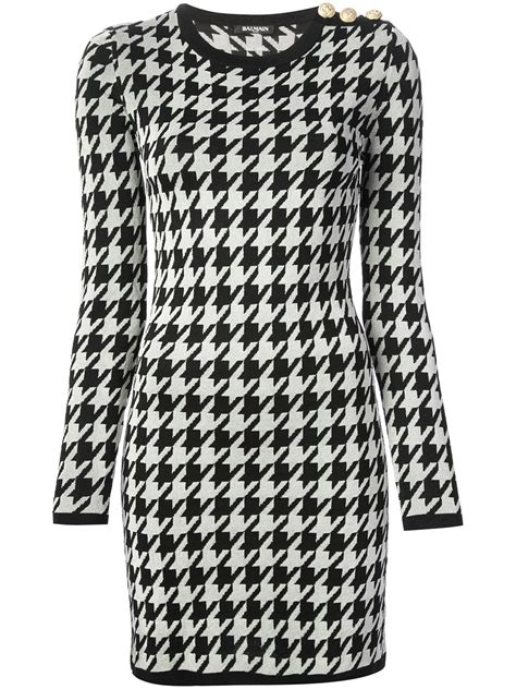 Black And White Geometric Pattern Dress | balmain geometric pattern dress in white lyst