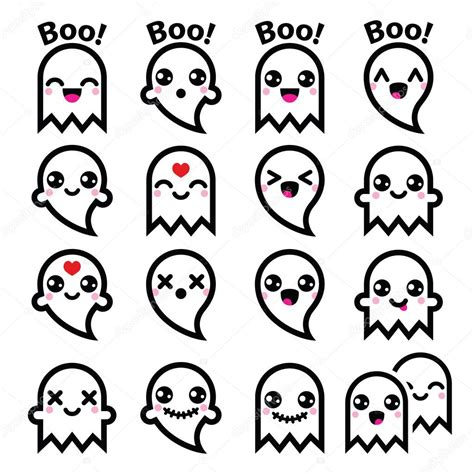imagenes kawaii de hallowen kawaii cute ghost for halloween icons set stock vector