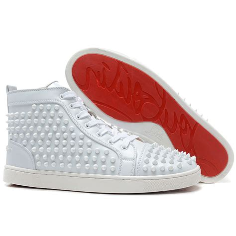 christian louboutin mens white sneakers cheap christian louboutin louis spikes mens flat high top