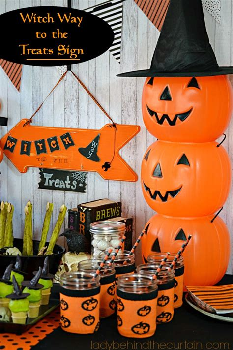 theme changer line halloween witch way to the treats halloween sign dessert party and