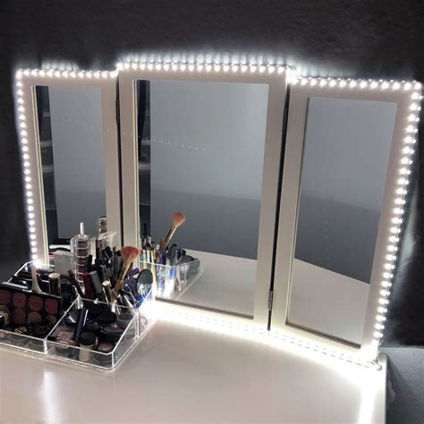 led light strips for mirror amazon com houseables trifold vanity mirror 3 way 31