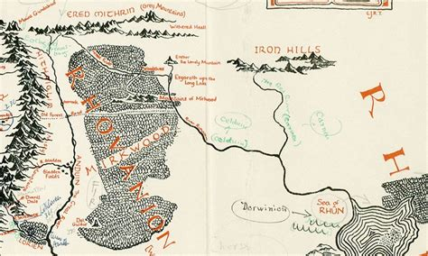 tolkien map middle earth map of middle earth annotated by tolkien found in a copy