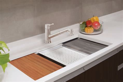 lenova kitchen sinks lenova ledge prep sink brings sleek style functionality