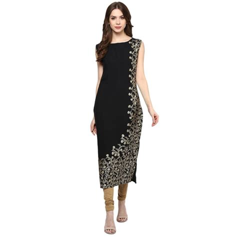 boat neck dress kurti boat neck sleeveless faux crepe foil print kurti at rs