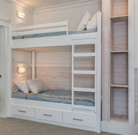 Built In Bunk Bed Plans Cottage With Whitewashed Plank Walls Home Bunch Interior Design Ideas