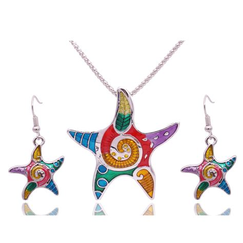 Vintage Glam Animal Necklaces by Fashion Enamel Starfish Jewelry Sets For Gold Plated