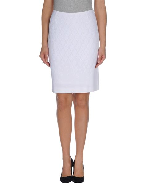 pringle of scotland knee length skirt in white lyst