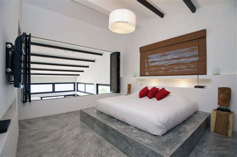 modern flooring ideas interior modern bedroom concrete floor with red pillow ideas