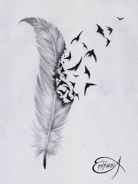 feather with birds flying out tattoo feather with birds flying out 87012 feather and
