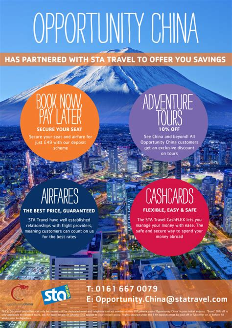 exclusive flight offers with sta travel opportunity china