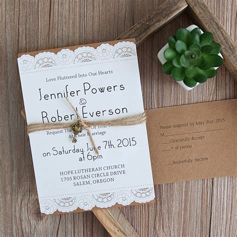 vintage invitations country graceful laser cut layered wedding invites with