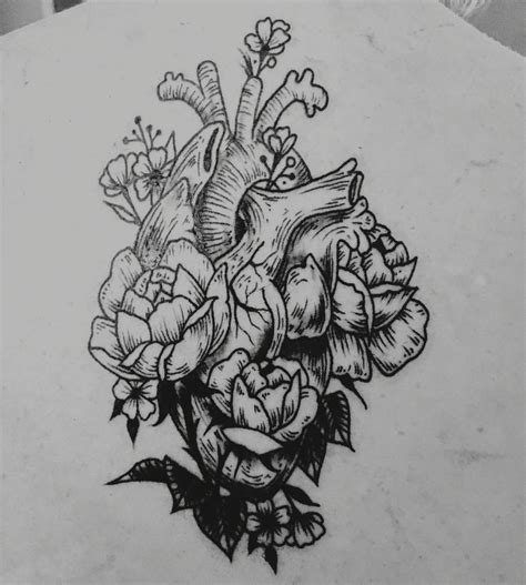 heart line tattoo anatomical line detail with floral