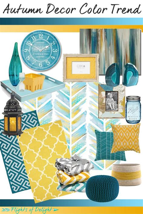 design trend decorating with blue color palette and autumn decor color trend mood board teal mustard via