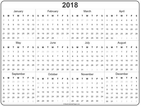 free printable yearly calendar 2018 onlyagame