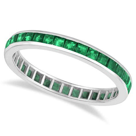 5 45 Ct Memo Emerald princess cut emerald eternity ring band 14k white gold 1 36ct