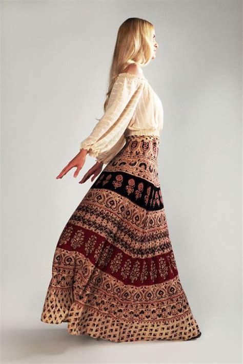 bohemian 70s india wrap maxi skirt clothing