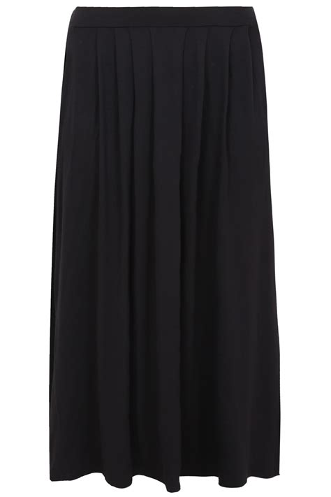 black pleated front maxi skirt plus size 14 to 36