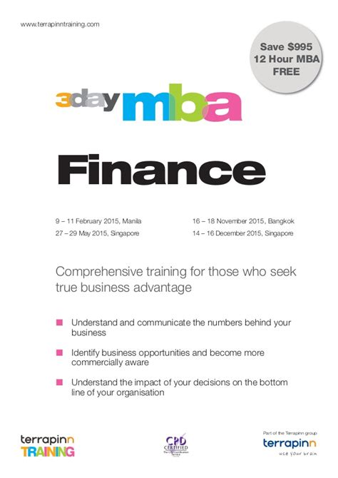 Mba Finance Singapore by 3 Day Mba In Finance Feb Manila May Sg Nov Bk Dec Sg