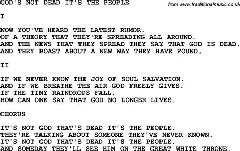 printable lyrics to god s not dead country southern and bluegrass gospel song god s not dead