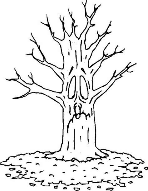 coloring page of a tree with leaves tree with no leaves coloring page coloring home